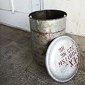 Drum Stoolcan シルバー (ドラム缶スツール) ふた付きでおしゃれなゴミ箱 容量約24L