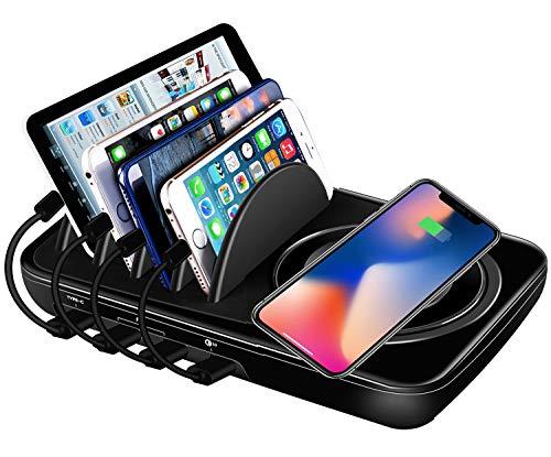 Qi ワイヤレス充電器 USB充電ステーションドッククイックチャージ3.0複数のデバイス用のタイプC デスクトップ充電スタンドオーガナイザーハブ高速充電ワイヤレス充電器 急速
