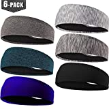 EasYoung Headbands for Men, 6/3/2/1 Pack Sweat Bands Headbands Mens Sport Cooling Headbands for Running, Crossfit, Working Out and Performance Stretch Guys Hairbands.