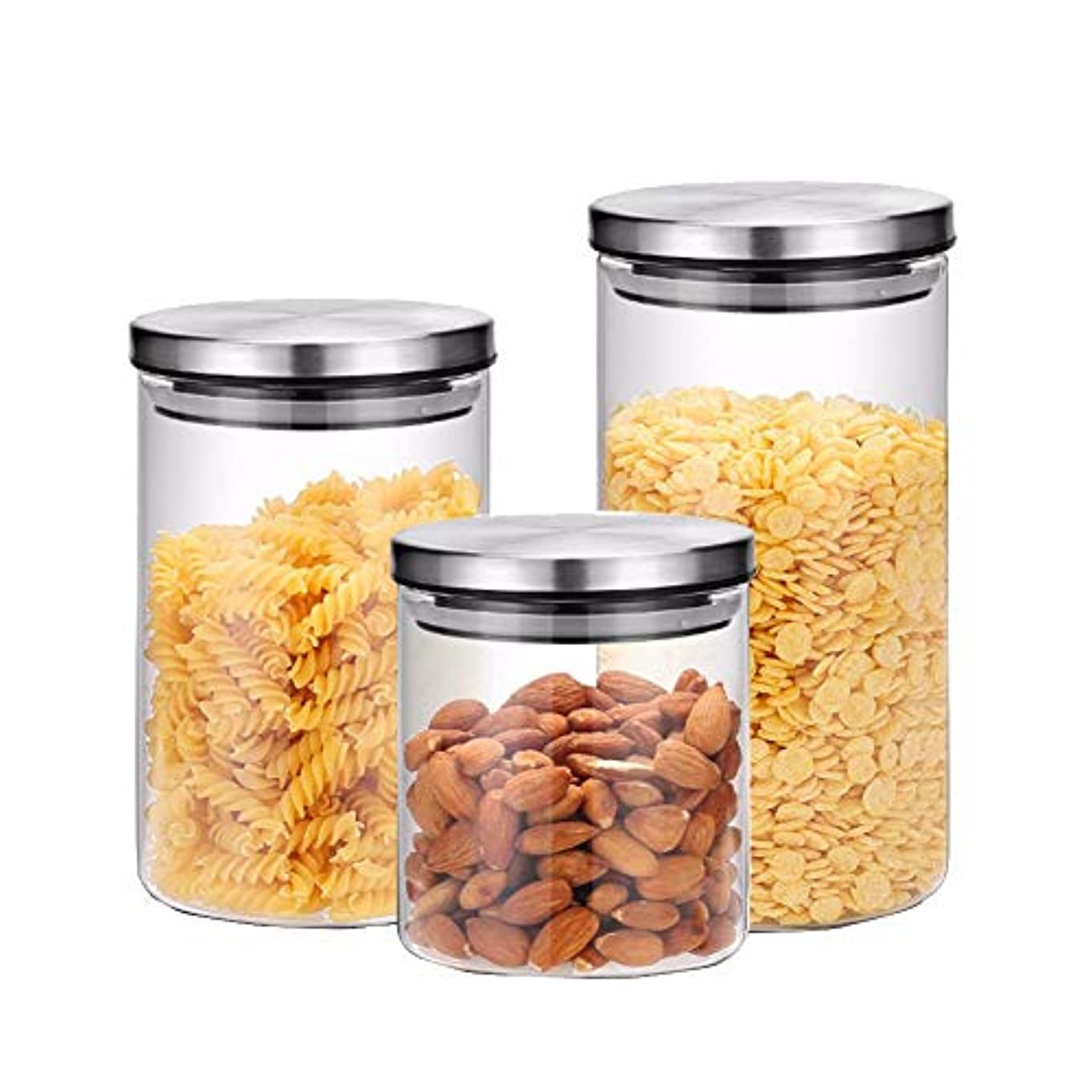 ガラスストレージジャースリーピースステンレススチールカバーガラスティーポットキッチン雑多な食品貯蔵瓶