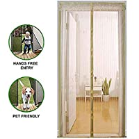 正面玄関および家の外のためのフルフレームのホック及びループ即刻の網のドアが付いている磁気スクリーンのドアの入り江の二重網のカーテンは容易に合います,Beige,110*210CM