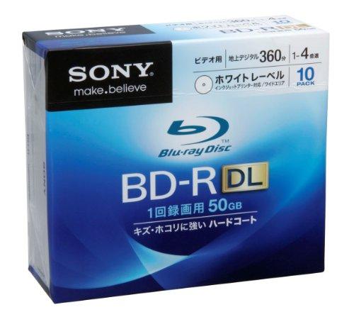 SONY 日本製 ビデオ用BD-R 追記型 片面2層50GB 4倍速 ホワイトプリンタブル 10枚パック 10BNR2VCPS4