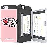 iPhone6S ケース 《SKINU》 キースへリング・KEITH HARING・カード収納可能・衝撃吸収抜群・傷防止・ミラー付き・スタンド機能・ICカード/クレジットカード完璧収納 (Couple Pink)