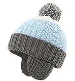 (コネクタイル)Connectyle 耳あて ニット 帽子 ポンポン付き キッズ 暖かい 冬 帽子 赤ちゃん 幼児 ベビー用ハット 防寒 ニット帽 子供 男の子 女の子 ブルー M