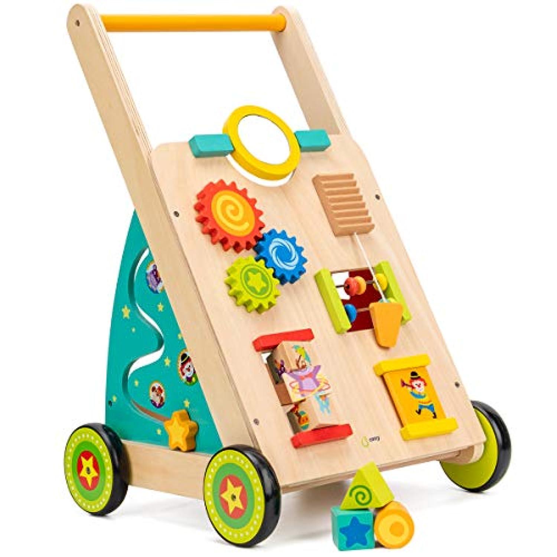 Cossy 木製 赤ちゃん学習ウォーカー 幼児用おもちゃ 1歳用 フォックスブロック ロールカート プッシュ&プルトイ 34ピース