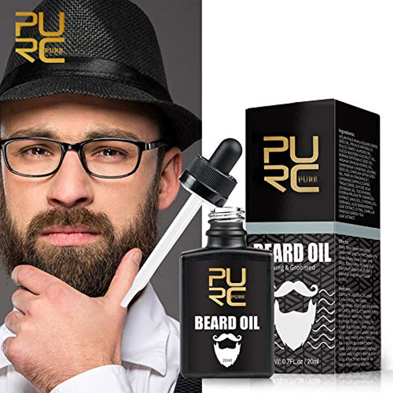 整理する修理工報復PURCビアードオイル栄養と手入れにより、ひげがかゆみとふけ防止のビアードオイルを排除 PURC Beard Oil Nourishing & Groomed Moisturizes Beard Eliminates Itching...