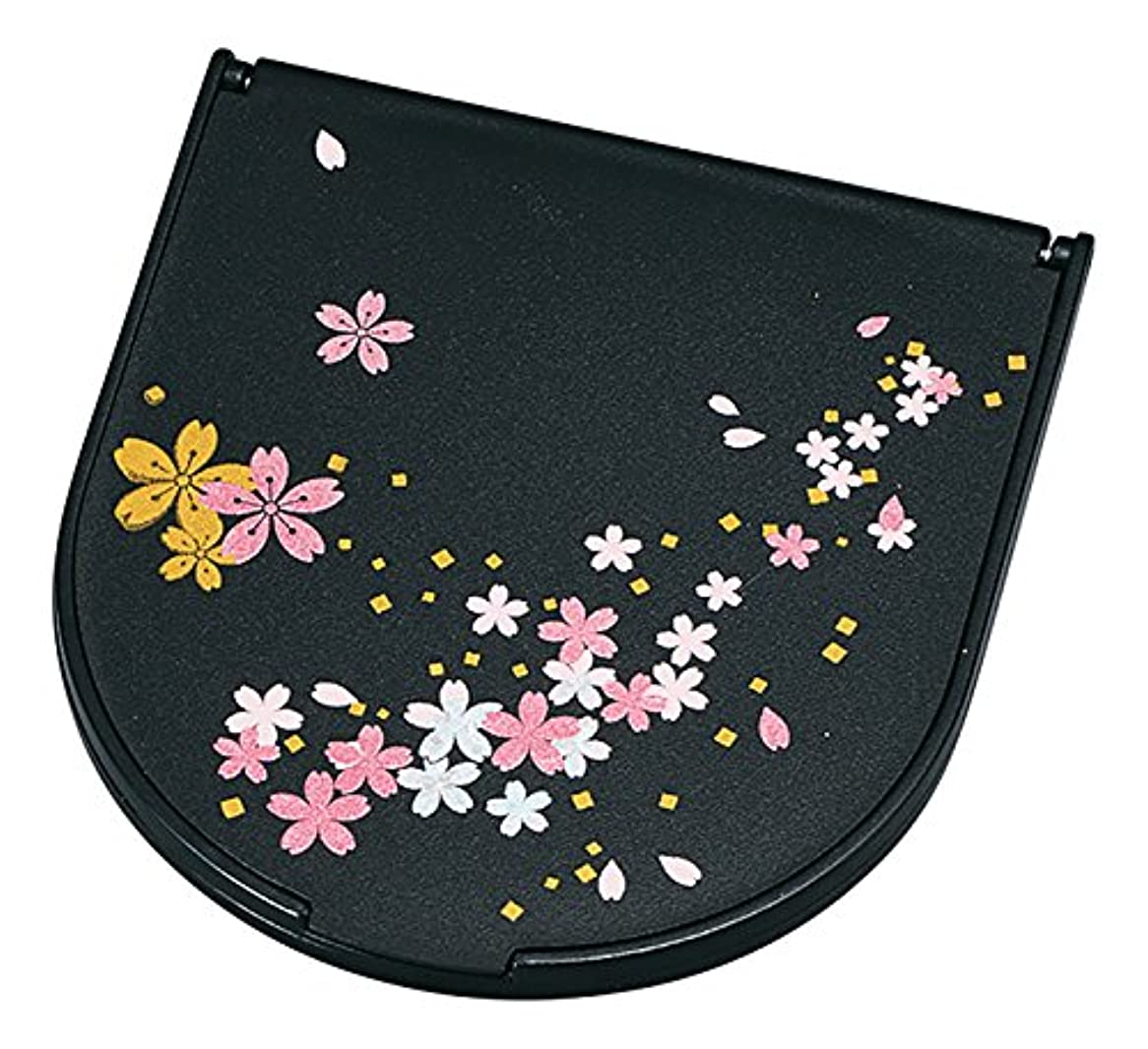 東方イライラする優れた山中塗 桜さくら 半月 コンパクトミラー 黒 M16274-5