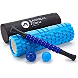 Easthills Fitness 5-in-1 Foam Roller Kit Recovery Muscle Bundle Set: 18 inch EVA Long Size Foam Roller, 9-Rollers Muscle Roller Stick, Lacrosse Massage Ball, Spiky Massage Ball and Zipper Carry Bag
