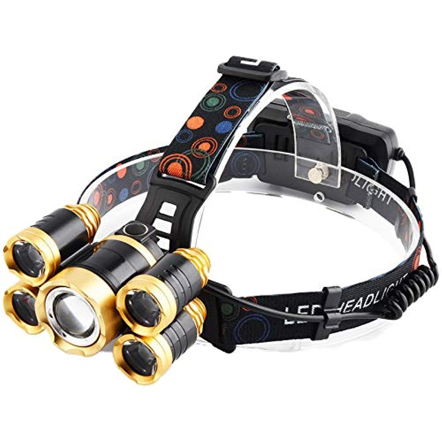 ジャンプアノイ交通LED ヘッドライト 超高輝度 5灯式 4段階の点灯モード 防災 釣り登山適用