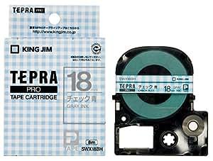 キングジム テープカートリッジ テプラPRO 18mm SWX18BH チェック青 グレー文字