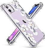 iPhone 11 ケース 花柄 かわいい 耐衝撃 透明TPU ソフト ストラップホール付き ワイヤレス充電対応 滑り止め カメラ保護 6.1インチ対応 クリア アイフォーン11 花ケース 可愛い(梔子)