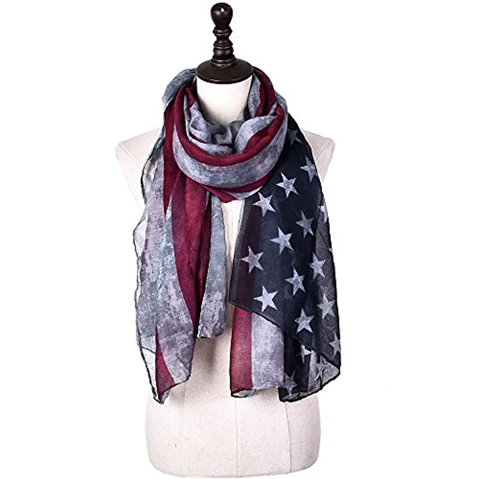 おばあさん流やさしいJCH ヴィンテージスターストライプスカーフレディーアメリカの旗プリントスカーフVoile女性トレンディー快適なスペシャルエレガントな