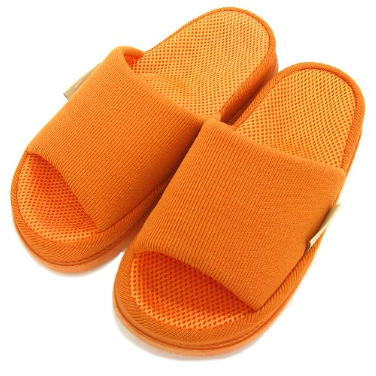 ノミネートかる心理的足で癒す リフレクソロジースリッパ リフレ 中心 オレンジ M