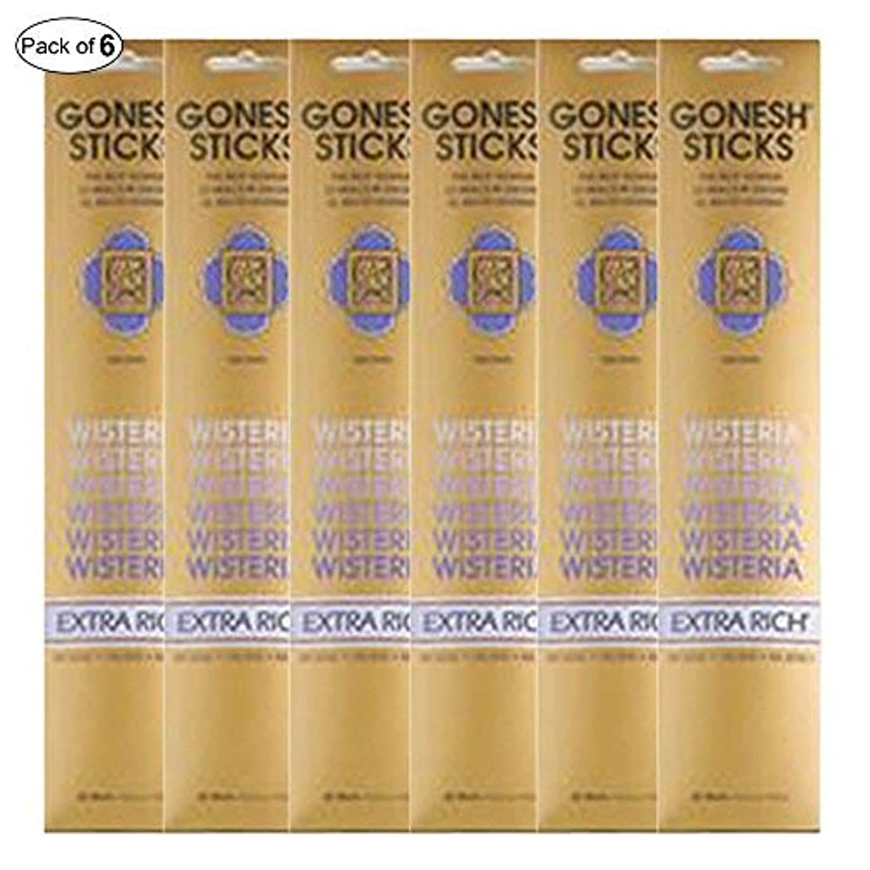 モーター自転車祈りGonesh Incense Extra rich- Wisteria ( 20 Sticks in 1パック) (パックof 6 )