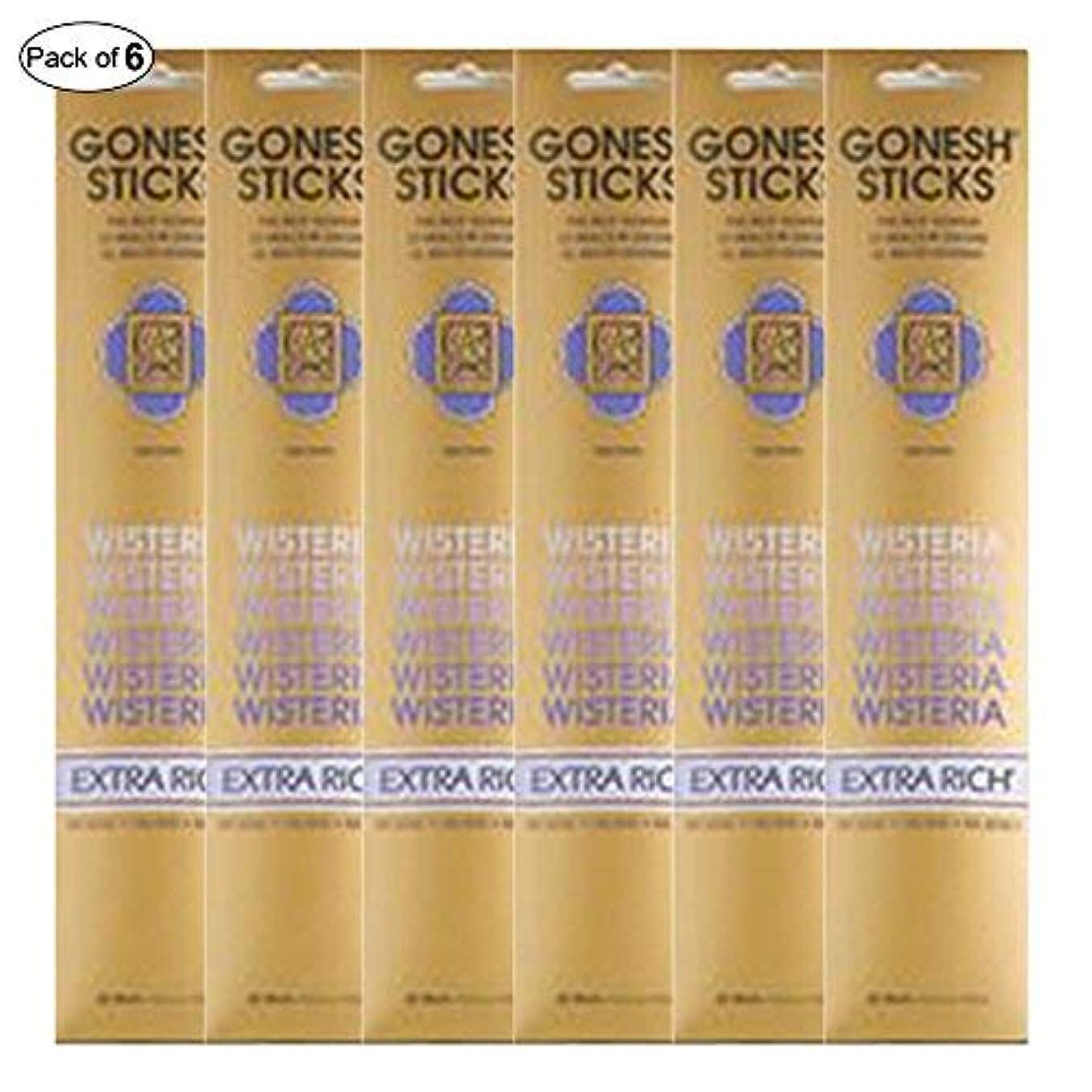 聴く告発句Gonesh Incense Extra rich- Wisteria ( 20 Sticks in 1パック) (パックof 6 )