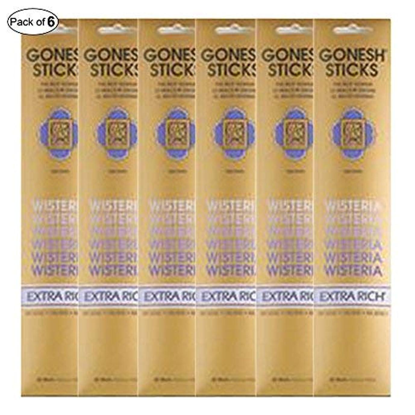 繊維接尾辞物理的にGonesh Incense Extra rich- Wisteria ( 20 Sticks in 1パック) (パックof 6 )