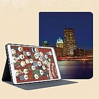 IPad mini1 mini2 mini3 ケース 手帳型 兼用型 IPad mini 1 / 2 / 3 カバー オートスリープ スタンド2段式の溝で自由に角度調節マンハッタン日没のスカイラインニューヨーク都市の景観米国夜景建物高層ビル