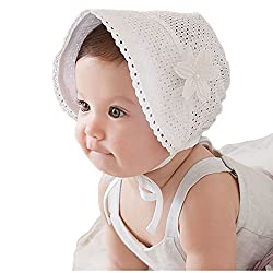 J-LAVIE 新生児 キッズ ベビー 赤ちゃん用 帽子 UVカット キャップ 綿 紐付き ツバ広 レース 透気性抜群 サイズ調整可能 夏 紫外線対策 日よけ 海 女の子 (ホワイト)
