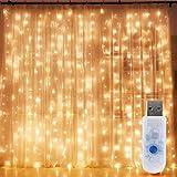 LEDGLE カーテンライト イルミネーションライト ストリングスライト LEDライト クリスマス 飾りライト ハロウィーン パーティー IP65防水 300LED 3M USB給電式8 点滅パターン リモコン付き
