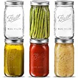 Ball Wide Mouth Mason Jar 32 oz [6 Pack] Wide Mouth Mason Jars With Airtight lids and Bands - For Canning, Fermenting, Pickling, Freezing - Glass jar, Microwave & Dishwasher Safe. + SEWANTA Jar Opener