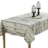 shopdp 北欧 復古木目調 テーブルクロス 綿麻 生地 吸水 耐熱 長方形 (100x140cm)