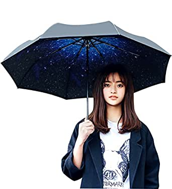 ZOCIYA 折り畳み傘 日傘  晴雨兼用 UVカット 傘 満点の星 8本骨 手動開閉 折りたたみ傘 収納ポーチ付き