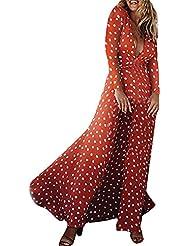 SakuraBest 女性のプリント波の点Vネックレースフロントスリット長袖のドレス