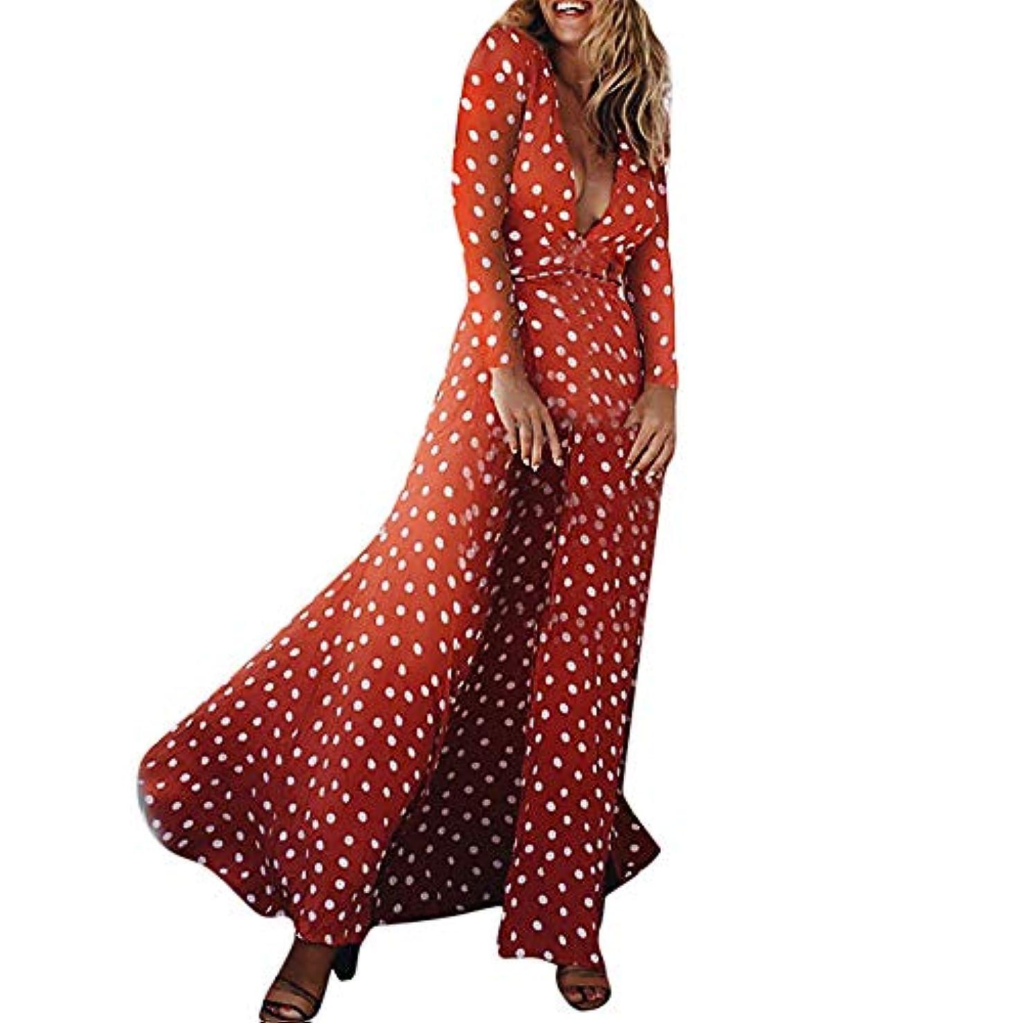 廃棄製品物理SakuraBest 女性のプリント波の点Vネックレースフロントスリット長袖のドレス