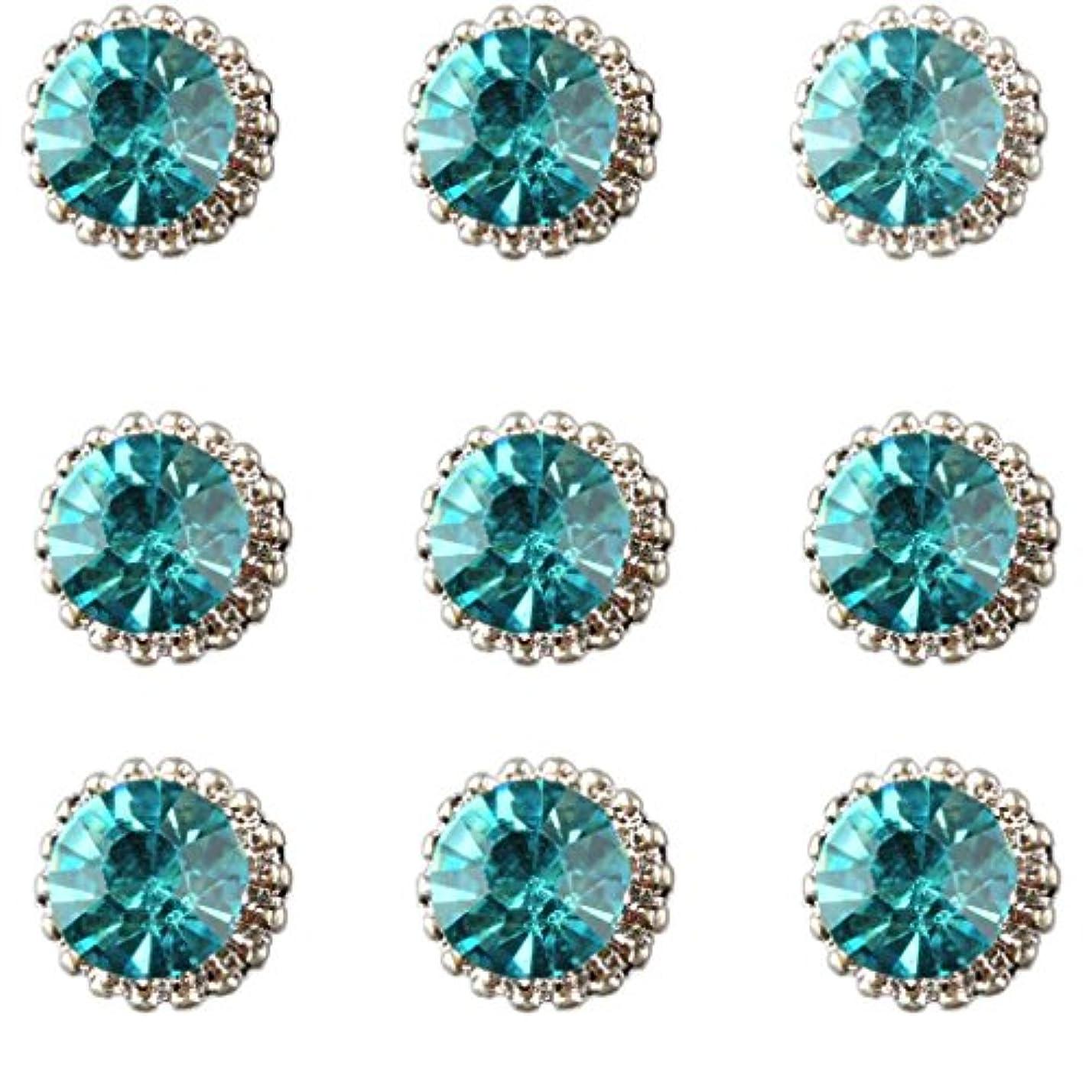 温かいダメージ集中SM SunniMix ネイルアート パーツ キラキラ 3D ネイルステッカー 合金 ラインストーン 6色選択 - 緑