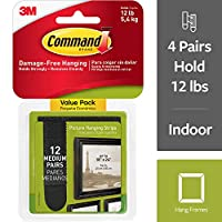 (12 Pairs, Black) - Command Picture Hanging Strips, Medium, Black, 12-Pairs