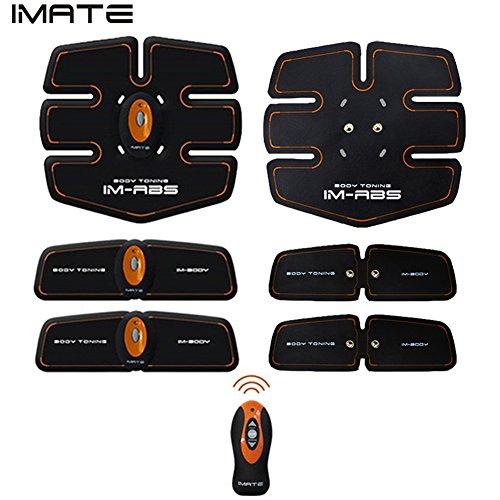 IMATEボディフィット 健康ビューティートレーニングフィットネスマシン ラン・ウォーク用ウエストお腹二の腕太ももふくらはぎダイエットエクササイズ全身器具 筋トレフィットネスマシーン アブズクフィットで腹筋を刺激、肌張り締め、マッサージ 腹筋ベルトセット(円型主体、フィットパッド、送信機、サポートベルトやコイン形リチウム電池などを含め)オレンジ