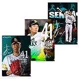 SoftBank HAWKS(ソフトバンクホークス) 福岡ソフトバンクホークス 2018 選手 クリアファイル 3枚セット (千賀)