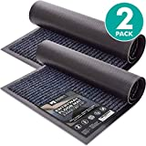 """Sierra Concepts 2-Pack Striped Door Floor Mat - Indoor Outdoor Rug Entryway Welcome Mats with Rubber Backing for Shoe Scraper, Ideal for Inside Outside High Traffic Area, Gray & Black 30"""" x 17"""""""