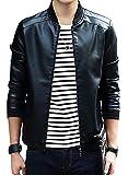 (コットンズ)cottonz ライダースジャケット メンズ バイクジャケット 長袖 ショート丈 フェイクレザージャケット ダブル ブルゾン ジャンパー (M)