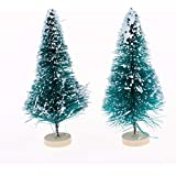 Perfeclan 20pcs Miniature Christmas Tree with Wooden Base, 7.5CM Height Mini Xmas Tree Model for Dollhouse or Micro Landscape Decoration