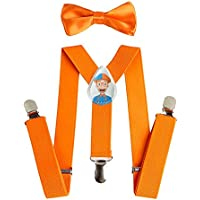 Blippi Kids Orange Suspenders and Bow Tie for Children - Adjustable and Clip On