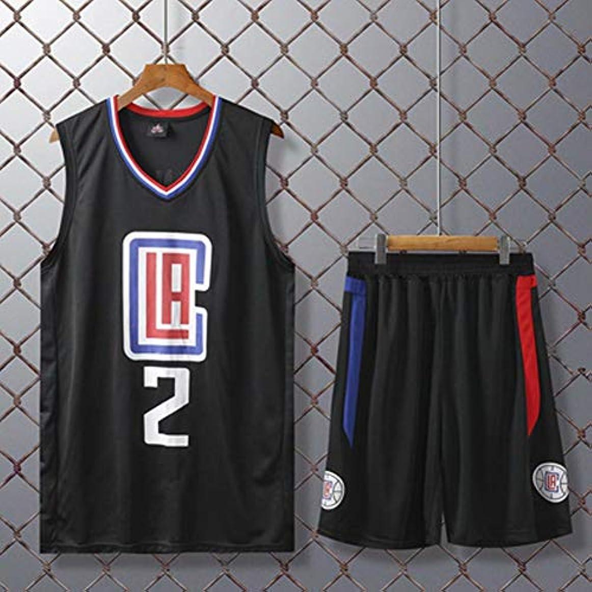 批評ヶ月目アカデミーキッズバスケットボールユニフォームセット - 夏のバスケットボールジャージーNBAロサンゼルスクリッパーズ#2レナード?ファン版 - クラシックバスケットボールスウィングマンジャージノースリーブ