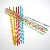 Outfun  アクリル カギ針 棒針 多色 セーターやマフラーやカーペットなどを手編む 編み針セット 長さは10.5インチ(26.25CM) 12本セット 6サイズ4.0-9.0mm