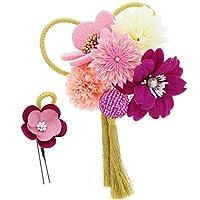 つまみ細工 髪飾り2点セット「紫、ピンク色 お花と剣つまみのお花、絞り玉」 フラワーコーム