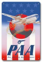 22cm x 30cmヴィンテージハワイアンティンサイン - アメリカンスターズ&ストライプス - パン・アメリカン航空(PAA) - ボーイング377ストラトクルーザー - ビンテージな航空会社のポスター c.1947