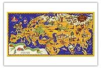 世界地図 - ショコラムニエ - フランスのチョコレート会社 - キャピタルズのツアー - ビンテージな世界旅行のポスター によって作成された J.B. ジャノー c.1956 - アートポスター - 76cm x 112cm