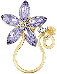 BEICHUANG Romantic Purple Rhinestone Flower Tiny Rose Eyeglass Sunglass Holder Strong Magnetic Brooch Pin