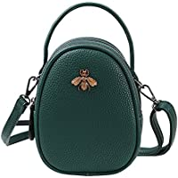 Olyphy Genuine Leather Small Shoulder Bag for Women, Mini Bee Cross Body Purse Round Handbag