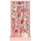 吊るし飾り ケース入り夢うさぎ 小 高さ56cm s六角吊るし飾りケースパールピンク塗 節句関連品