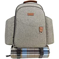 Picnic Backpack Sets, Picnic Cooler Bag with Roomy Insulated Compartment, Bottle Holders and Waterproof Picnic Rug