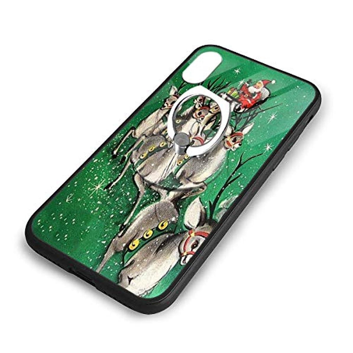 足音丁寧構築するハッピーニューイヤークリスマスのトナカイ Iphone X/XS TPUガラス電話ケース +丸型ブラケット落下防止 傷なし