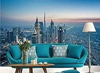 Minyose 3D高精細都市高層ビル装飾的な絵画の壁紙高層夜景寝室の背景壁紙-300cmx210cm