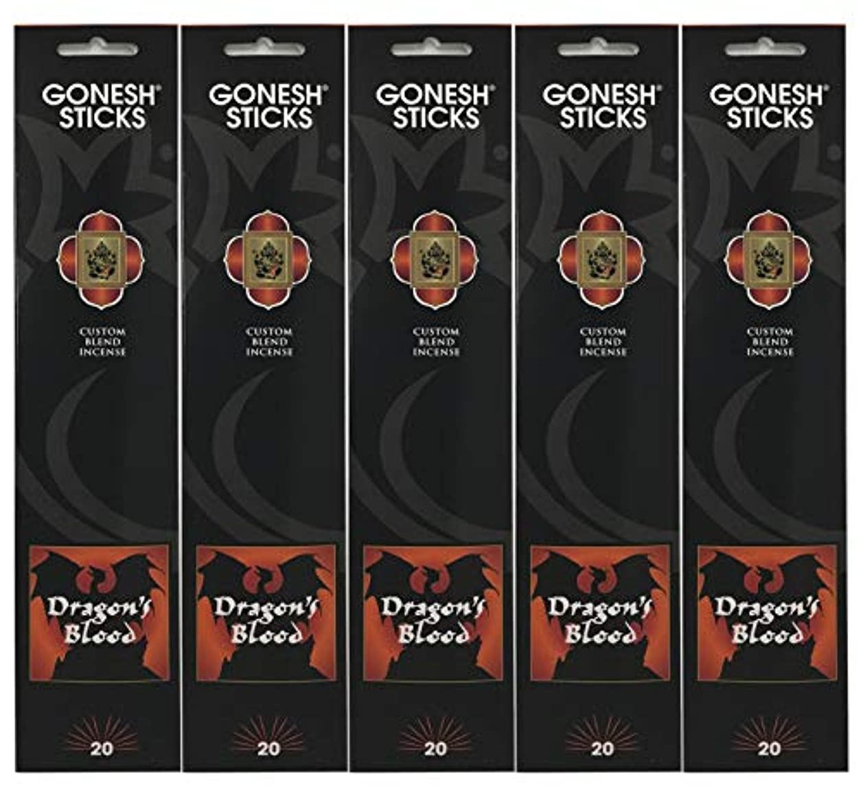 今後楽観否定するGonesh Incense Sticks Extra Richコレクション – Dragon 's Blood – 5パック(合計100 )