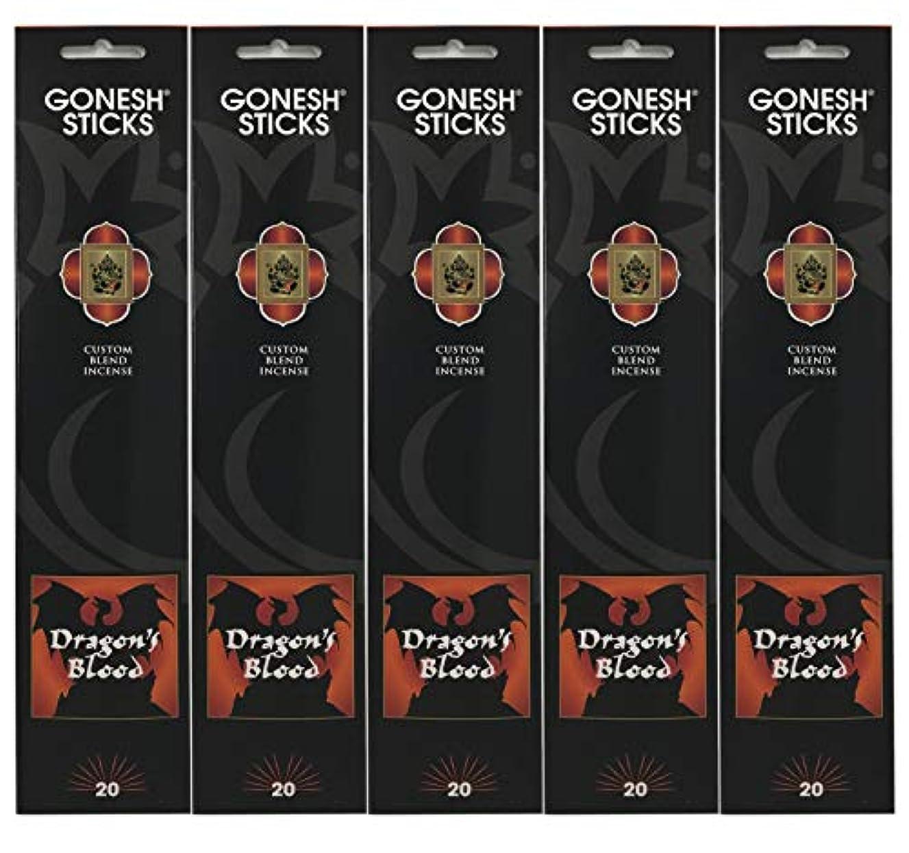 ジャンク広告する不健全Gonesh Incense Sticks Extra Richコレクション – Dragon 's Blood – 5パック(合計100 )