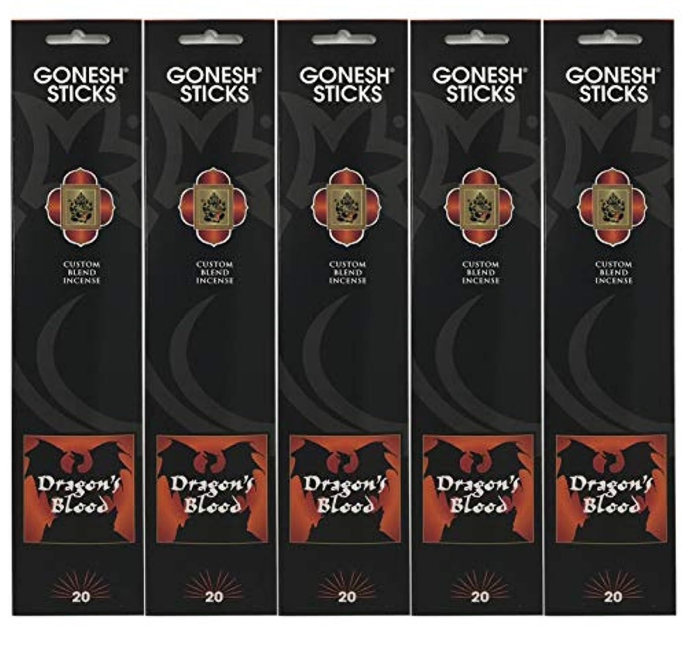 記憶に残るスイ作成するGonesh Incense Sticks Extra Richコレクション – Dragon 's Blood – 5パック(合計100 )